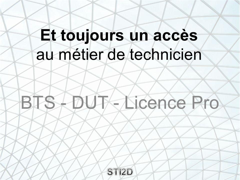 Et toujours un accès au métier de technicien BTS - DUT - Licence Pro STI2D
