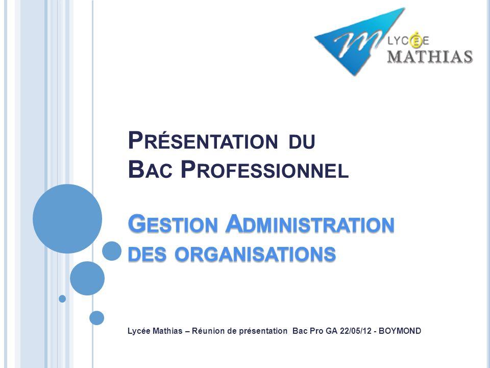 A compter de 2015 Bac Pro Comptabilité Bac Pro Secrétariat Bac Pro GESTION-ADMINISTRATION De la comptabilité vers la Gestion Du secrétariat vers lAdministration 2