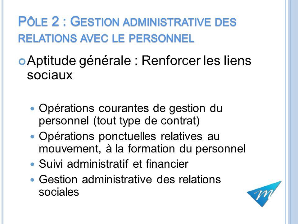 Aptitude générale : Renforcer les liens sociaux Opérations courantes de gestion du personnel (tout type de contrat) Opérations ponctuelles relatives a