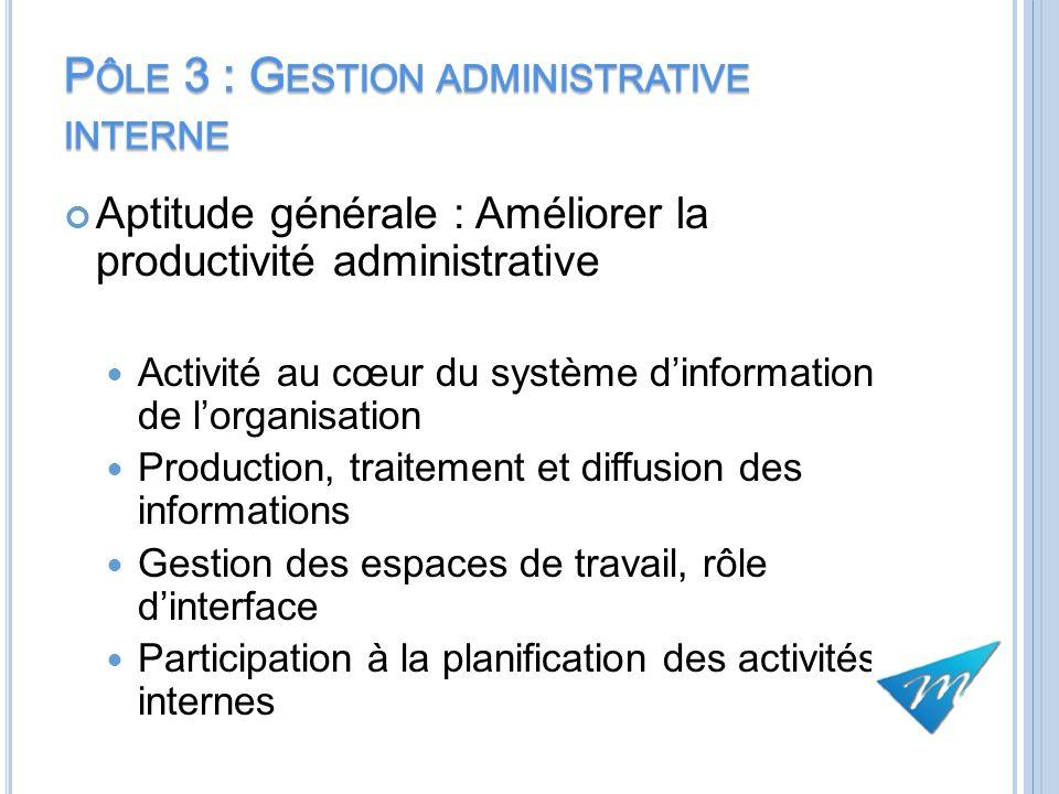 Aptitude générale : Améliorer la productivité administrative Activité au cœur du système dinformation de lorganisation Production, traitement et diffu