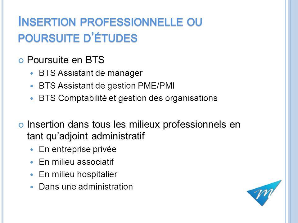 Poursuite en BTS BTS Assistant de manager BTS Assistant de gestion PME/PMI BTS Comptabilité et gestion des organisations Insertion dans tous les milie
