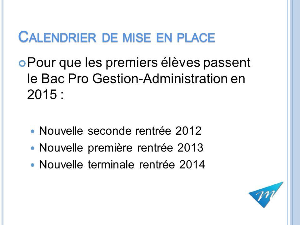Pour que les premiers élèves passent le Bac Pro Gestion-Administration en 2015 : Nouvelle seconde rentrée 2012 Nouvelle première rentrée 2013 Nouvelle