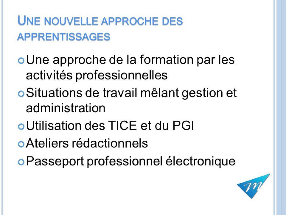 Une approche de la formation par les activités professionnelles Situations de travail mêlant gestion et administration Utilisation des TICE et du PGI