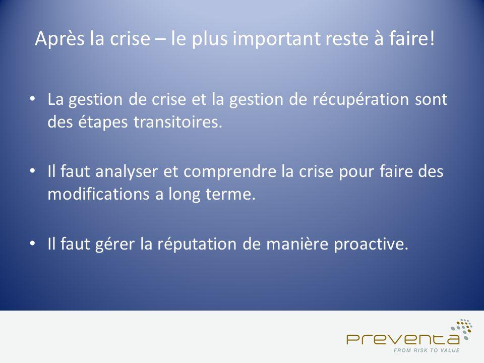 Après la crise – le plus important reste à faire! La gestion de crise et la gestion de récupération sont des étapes transitoires. Il faut analyser et
