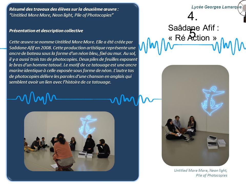 Saâdane Afif : « Ré Action » Lycée Georges Lamarque Résumé des travaux des élèves sur la deuxième œuvre : Untitled More More, Neon light, Pile of Phot