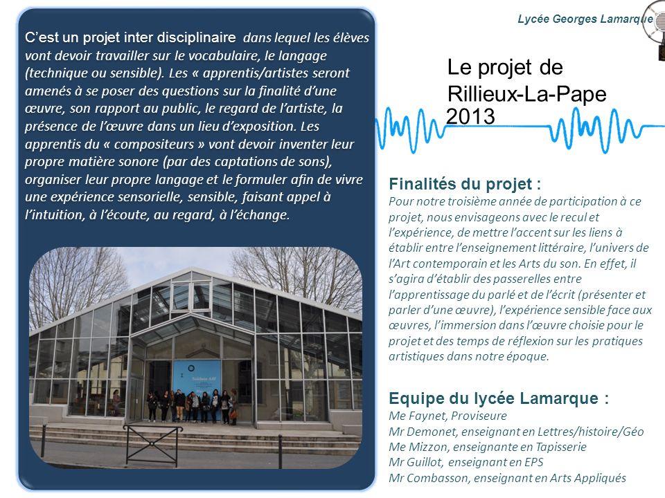 Les partenaires 2013 Compositeur de GRAME: Frédéric Kahn Médiatrice culturelle de lIAC: Ida Mininni Institut dArt Contemporain de Villeurbanne Centre Pompidou Lycée Georges Lamarque IRCAM