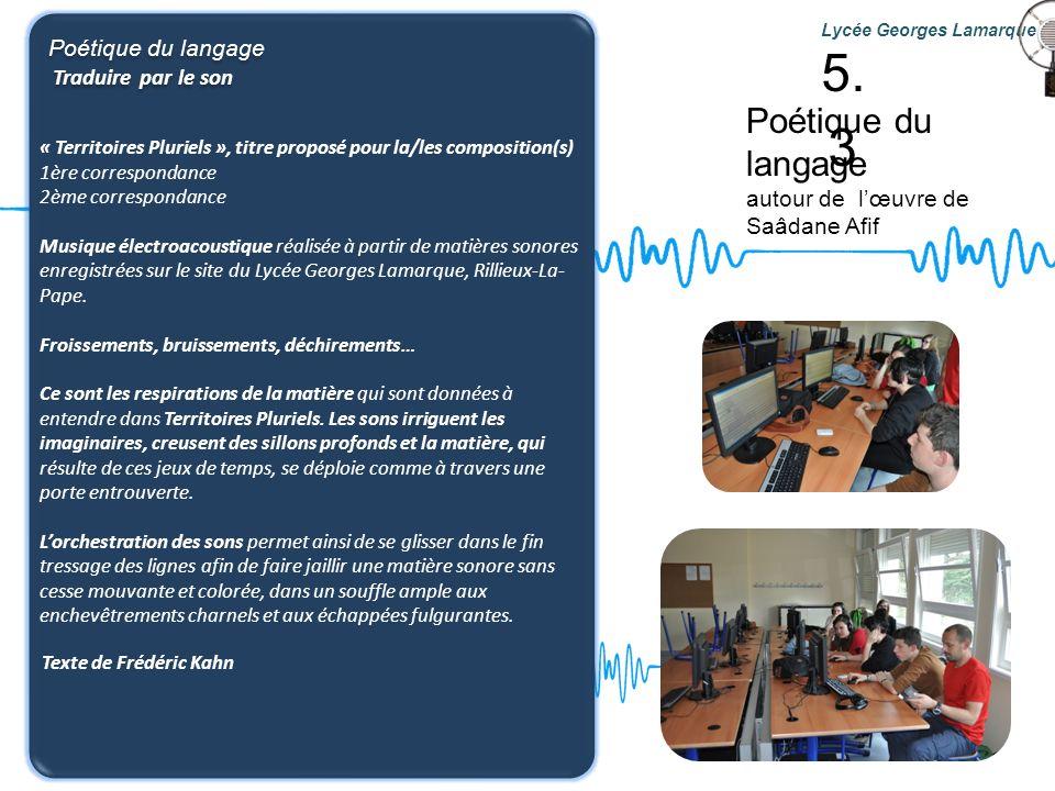 Poétique du langage autour de lœuvre de Saâdane Afif Lycée Georges Lamarque Poétique du langage Traduire par le son Poétique du langage Traduire par l