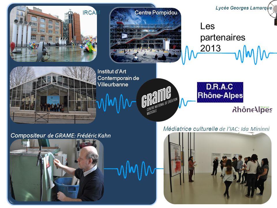 Les partenaires 2013 Compositeur de GRAME: Frédéric Kahn Médiatrice culturelle de lIAC: Ida Mininni Institut dArt Contemporain de Villeurbanne Centre