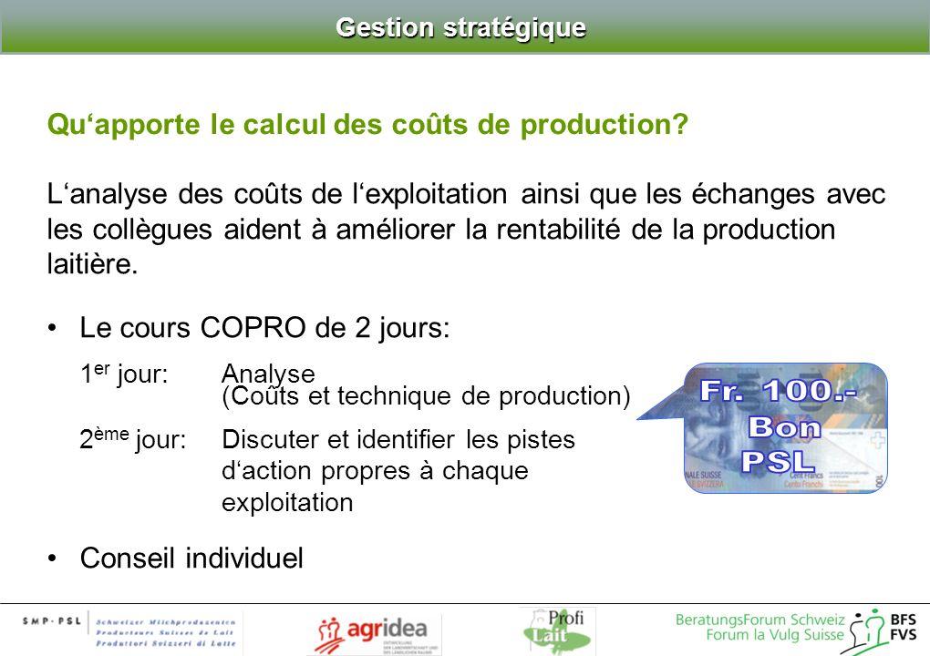 Gestion stratégique Gestion stratégique Lanalyse des coûts de lexploitation ainsi que les échanges avec les collègues aident à améliorer la rentabilité de la production laitière.