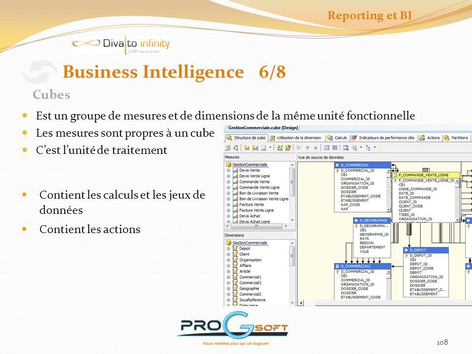 109 Business Intelligence 7/8 Le déploiement est préalable au traitement Le déploiement construit la structure « base de données » du cube Le traitement ajoute des données dans la structure, sexécute quotidiennement Déploiement et Traitement Reporting et BI