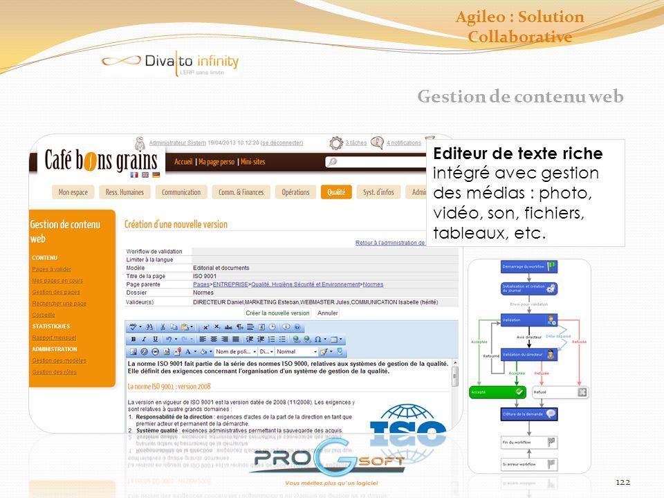 123 Gestion documentaire Ajout de fichiers par simple glisser/déposer Modification par simple double-clic Agileo : Solution Collaborative