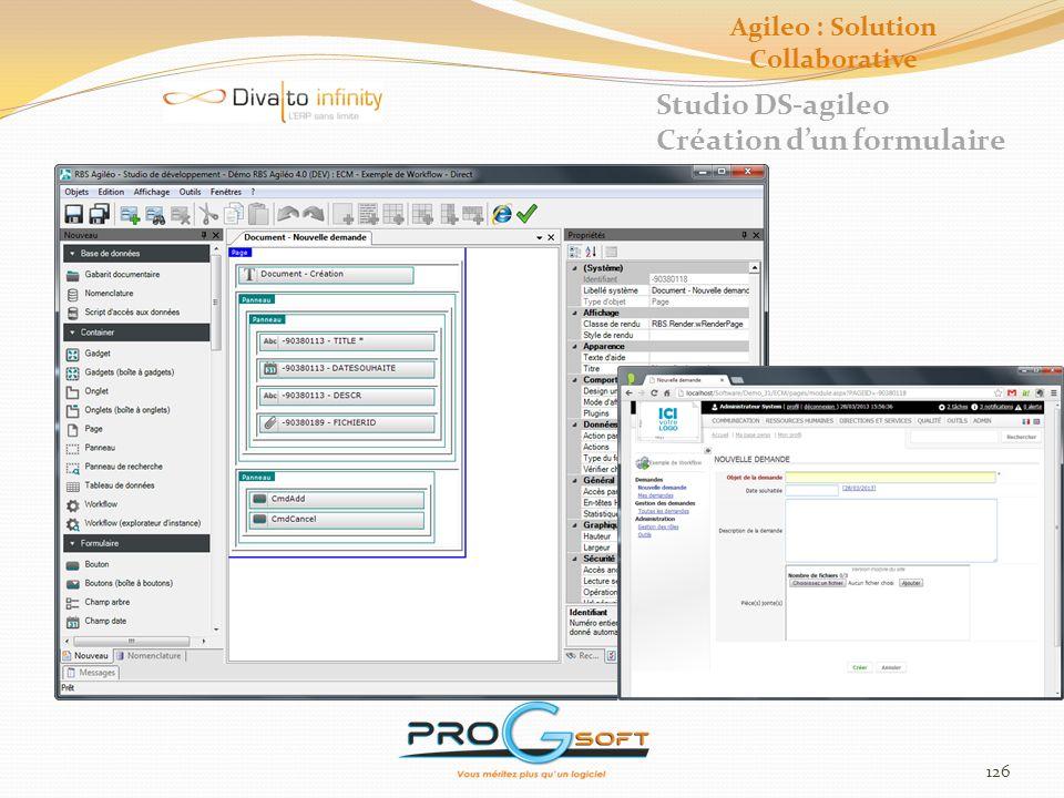 127 Studio DS-agileo Création dun workflow Agileo : Solution Collaborative