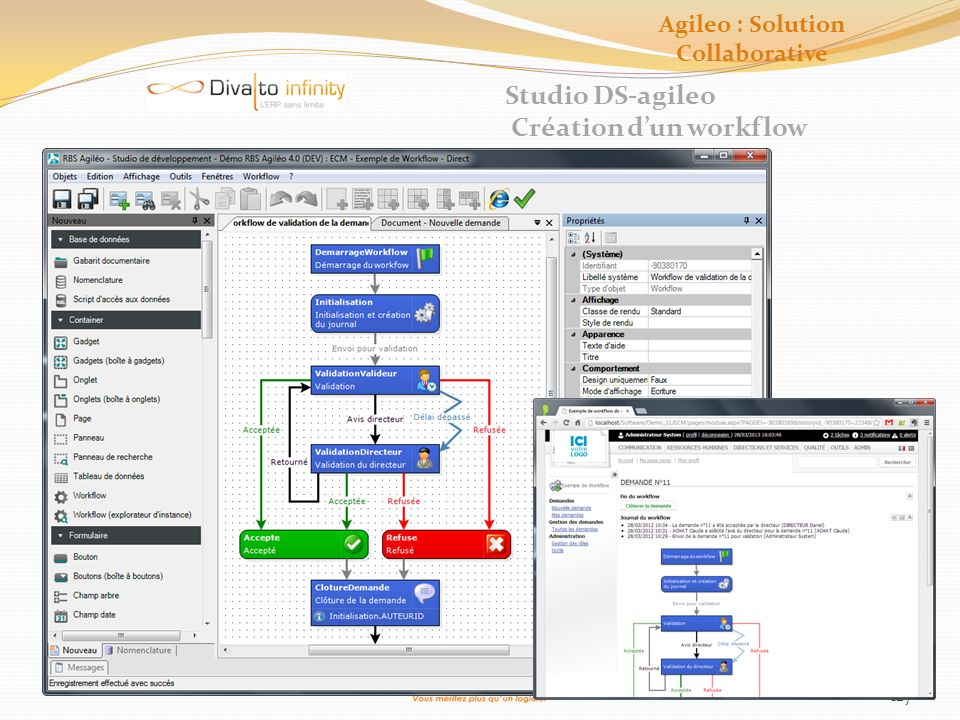 127 Studio DS-agileo Création dun workflow Agileo : Solution Collaborative