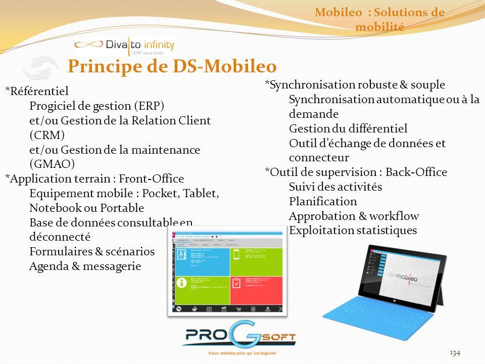 135 DS-Mobileo Synchro Moteur de synchronisation puissant et robuste Pour une administration distante Gestion des groupes dutilisateurs Gestion des autorisations daccès Télédistribution des mises à jour Suivi des logs de connexion Pour une synchronisation sécurisée Synchro complète ou différentielle Synchro de tables de données Synchro de fichiers (médias et docs) Déclenchement automatisé ou à la demande Compression Cryptage Mobileo : Solutions de mobilité