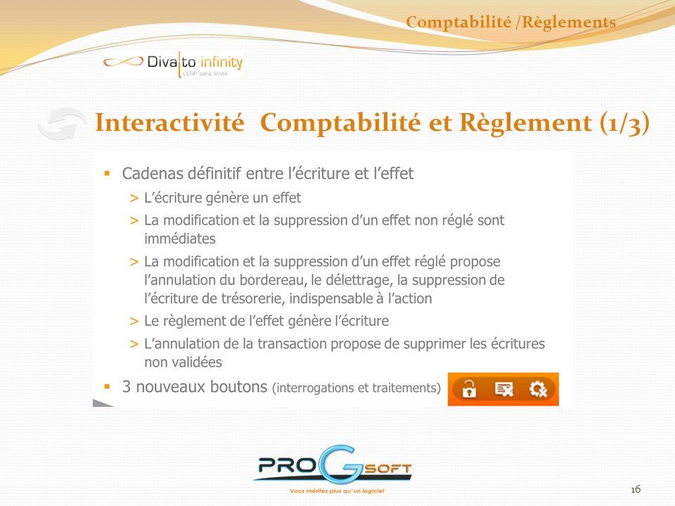 17 Interactivité Comptabilité et Règlement (2/3) Comptabilité /Règlements