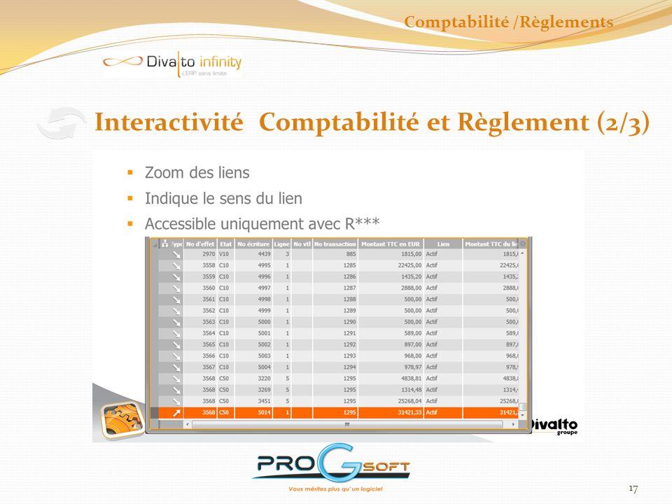 18 Interactivité Comptabilité et Règlement (3/3) Comptabilité /Règlements