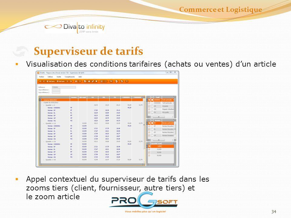 35 Impressions Impressions des tarifs Jusquà 10 codes tarif et Promotion Impression du tarif client Impression du tarif entreprise Commerce et Logistique