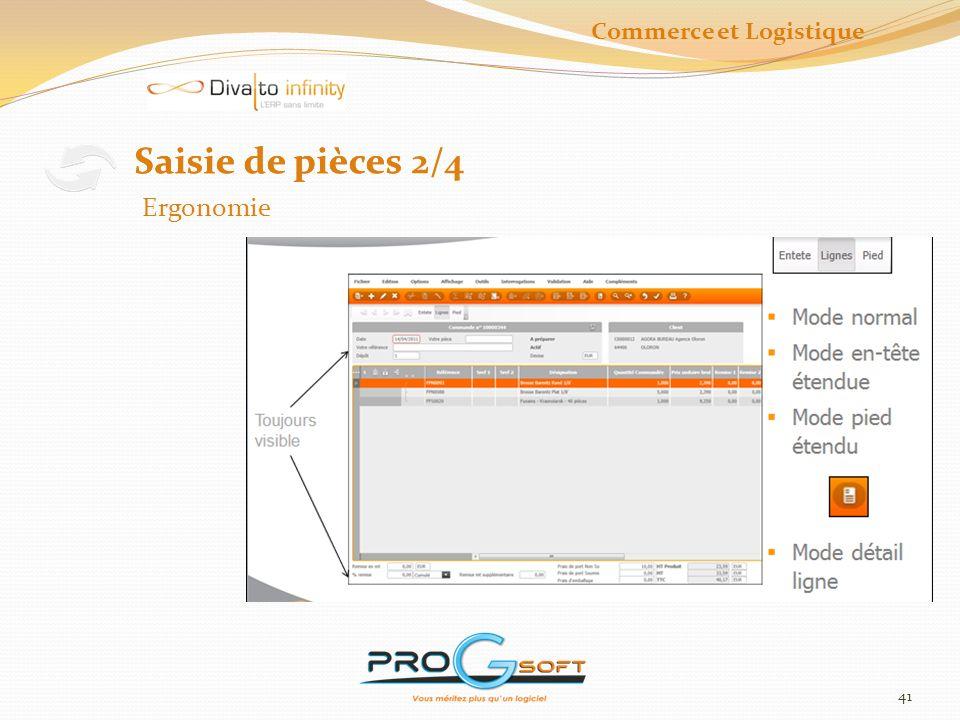 42 Saisie de pièces 3/4 Création et Validation Commerce et Logistique