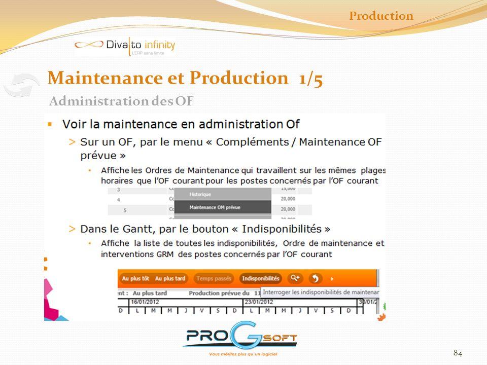 85 Production Maintenance et Production 2/5 Plan de Charge