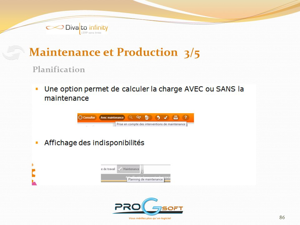 86 Maintenance et Production 3/5 Planification