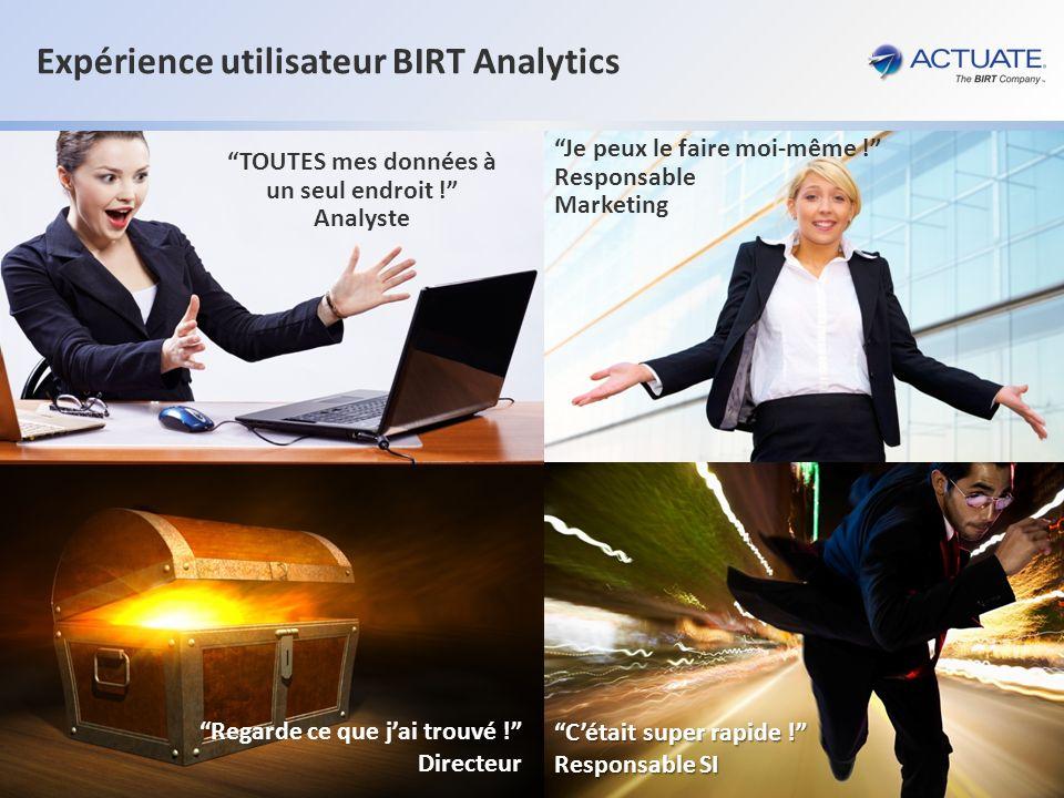 14 Actuate Corporation © 2012 Expérience utilisateur BIRT Analytics TOUTES mes données à un seul endroit ! Analyste Je peux le faire moi-même ! Respon