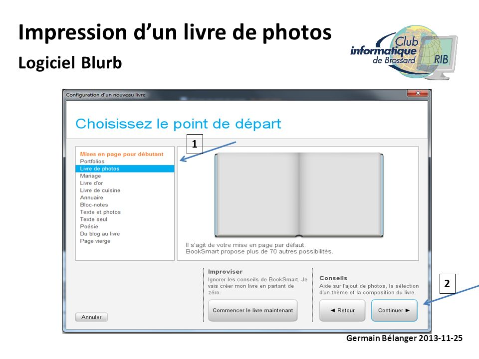 Impression dun livre de photos Logiciel Blurb Germain Bélanger 2013-11-25 1 2