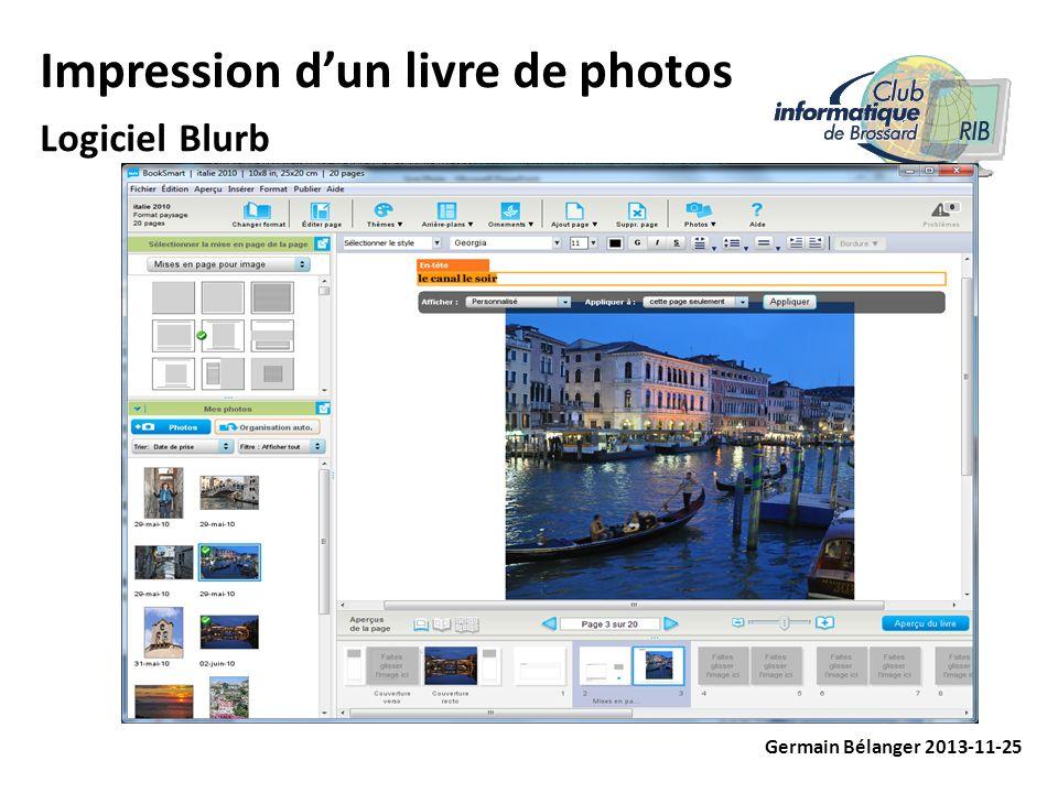 Impression dun livre de photos Logiciel Blurb Germain Bélanger 2013-11-25