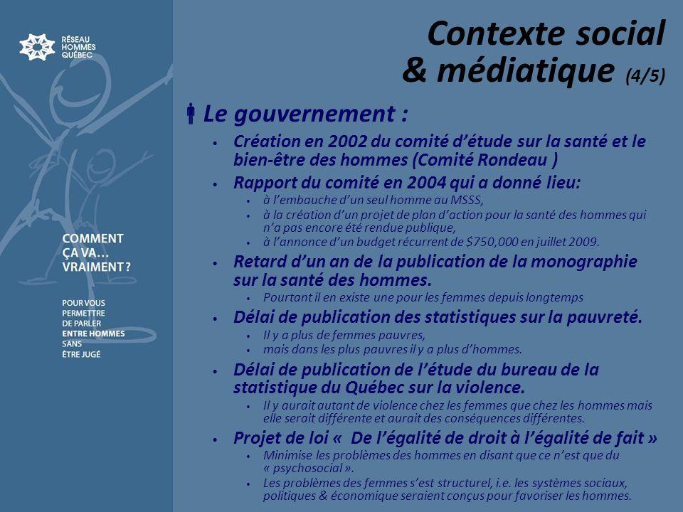 Contexte social & médiatique (4/5) Le gouvernement : Création en 2002 du comité détude sur la santé et le bien-être des hommes (Comité Rondeau ) Rappo