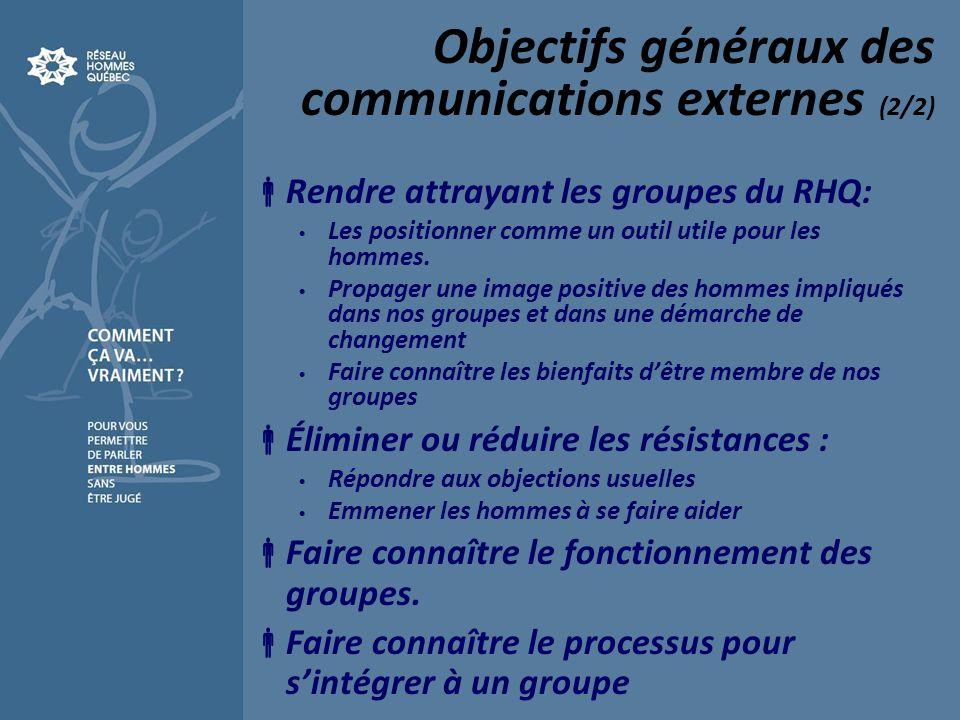 Objectifs généraux des communications externes (2/2) Rendre attrayant les groupes du RHQ: Les positionner comme un outil utile pour les hommes. Propag