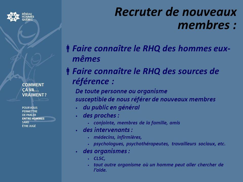 Recruter de nouveaux membres : Faire connaître le RHQ des hommes eux- mêmes Faire connaître le RHQ des sources de référence : De toute personne ou org