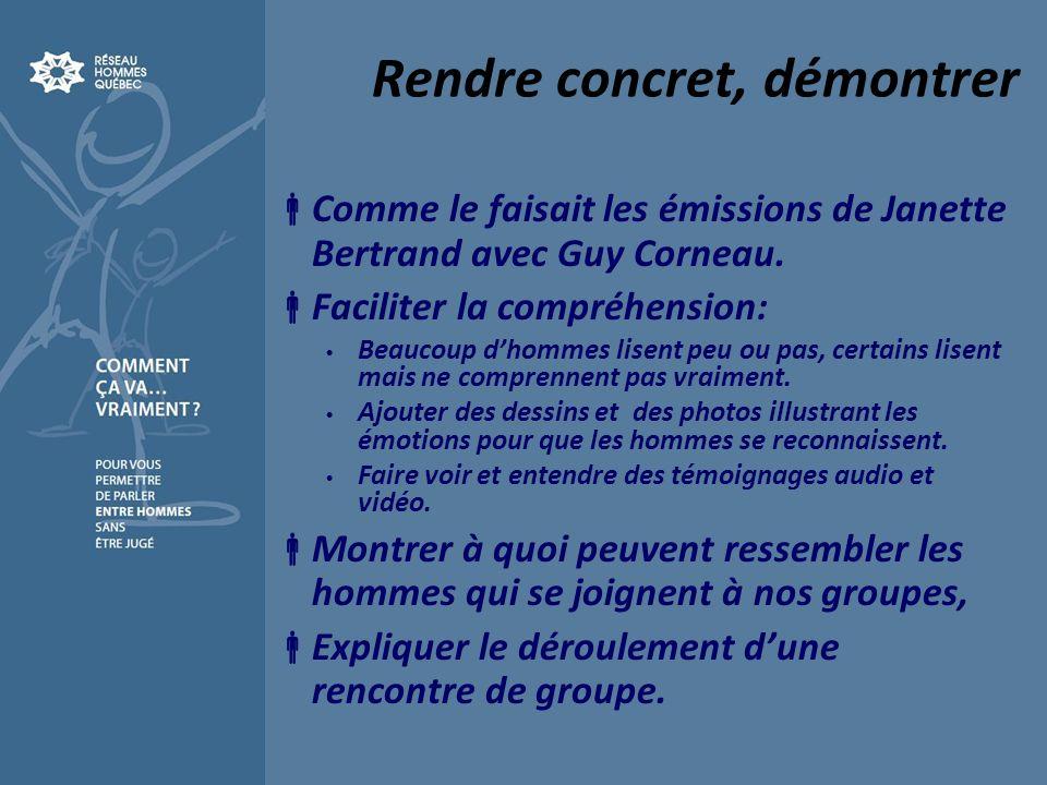 Rendre concret, démontrer Comme le faisait les émissions de Janette Bertrand avec Guy Corneau. Faciliter la compréhension: Beaucoup dhommes lisent peu