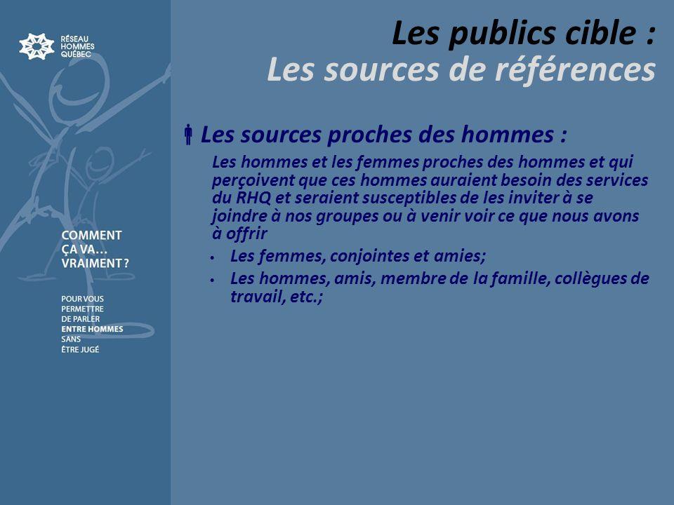 Les publics cible : Les sources de références Les sources proches des hommes : Les hommes et les femmes proches des hommes et qui perçoivent que ces h