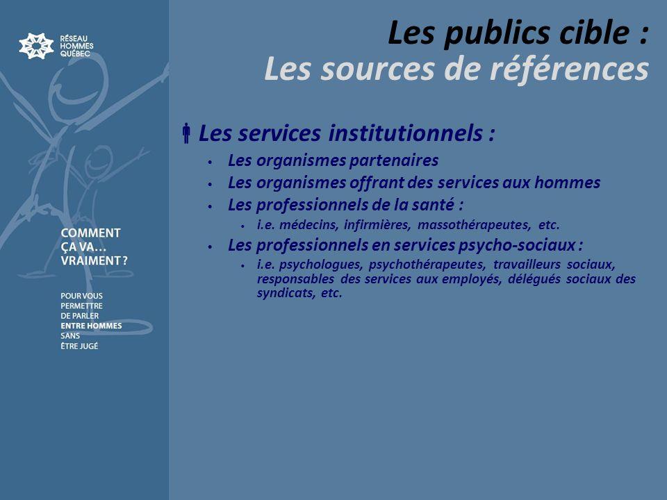 Les publics cible : Les sources de références Les services institutionnels : Les organismes partenaires Les organismes offrant des services aux hommes Les professionnels de la santé : i.e.