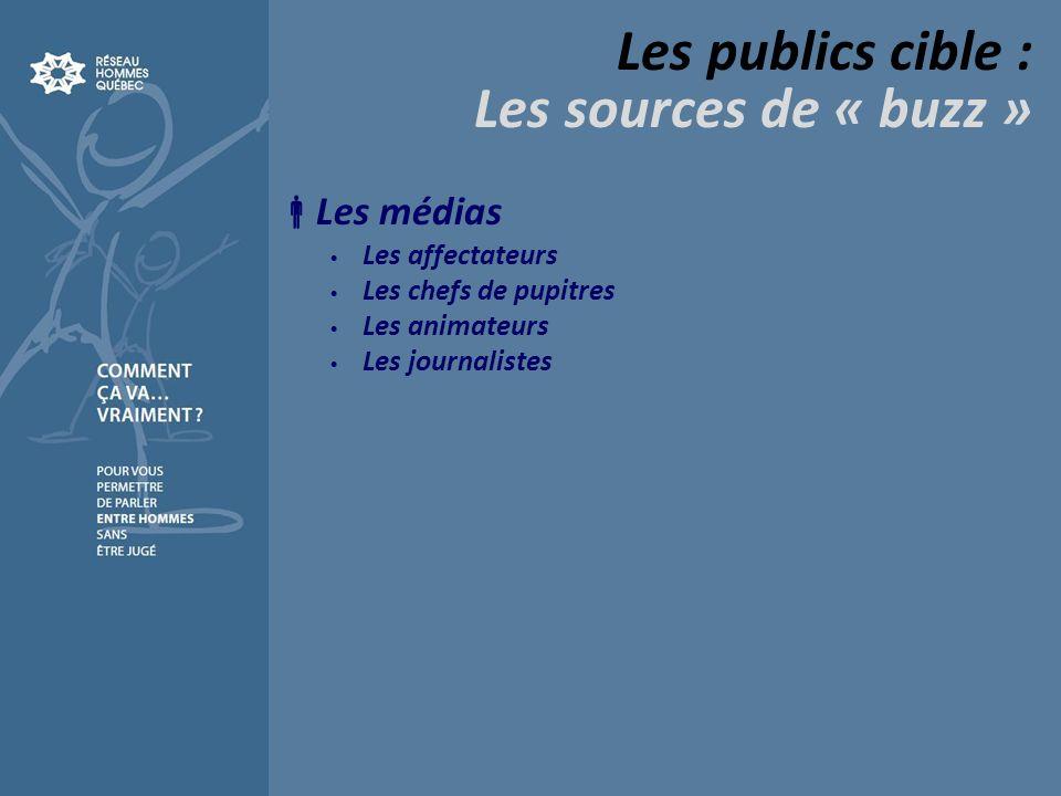 Les publics cible : Les sources de « buzz » Les médias Les affectateurs Les chefs de pupitres Les animateurs Les journalistes