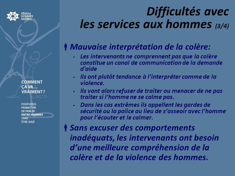Difficultés avec les services aux hommes (3/4) Mauvaise interprétation de la colère: Les intervenants ne comprennent pas que la colère constitue un canal de communication de la demande d aide Ils ont plutôt tendance à linterpréter comme de la violence.