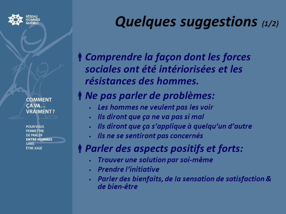 Quelques suggestions (1/2) Comprendre la façon dont les forces sociales ont été intériorisées et les résistances des hommes.
