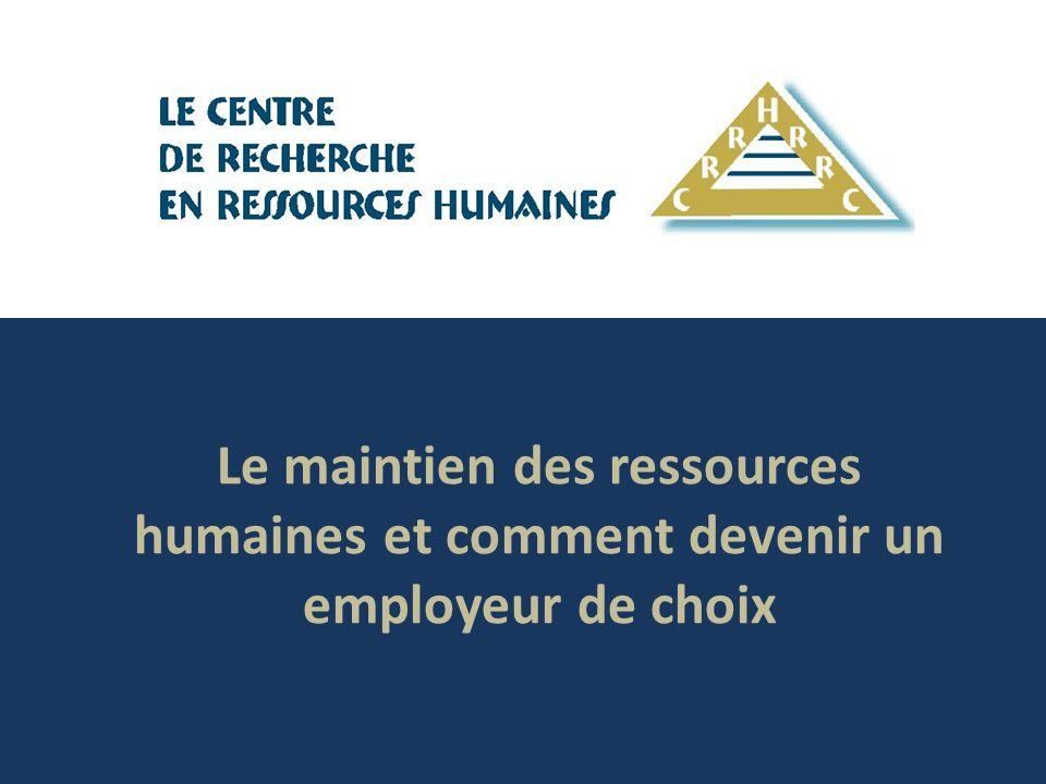Le maintien des ressources humaines (suite) Les pratiques de base sont bien exécutées Les employeurs de choix mettent très bien en œuvre les pratiques de base en matière de ressources humaines: programmes de tous les jours comme la reconnaissance, la gestion du rendement, le perfectionnement des employés.