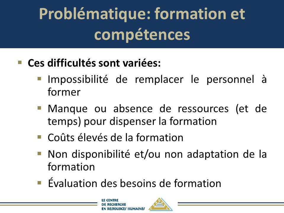 Problématique: formation et compétences Ces difficultés sont variées: Impossibilité de remplacer le personnel à former Manque ou absence de ressources