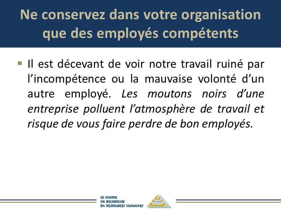 Ne conservez dans votre organisation que des employés compétents Il est décevant de voir notre travail ruiné par lincompétence ou la mauvaise volonté