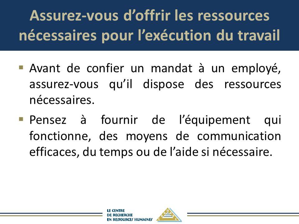 Assurez-vous doffrir les ressources nécessaires pour lexécution du travail Avant de confier un mandat à un employé, assurez-vous quil dispose des ress