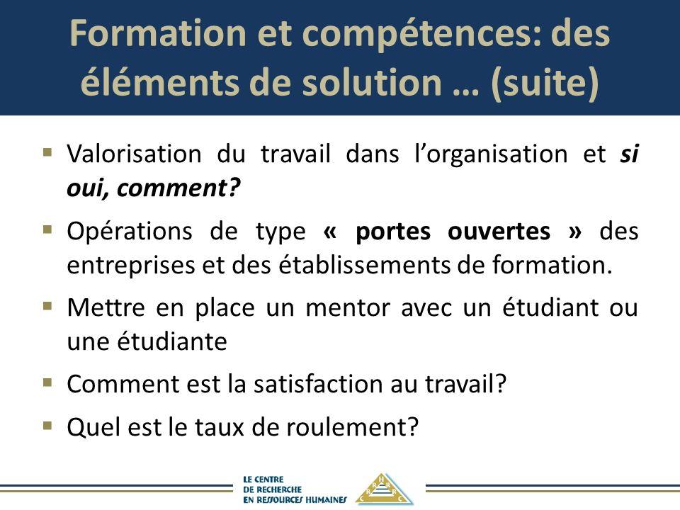 Formation et compétences: des éléments de solution … (suite) Valorisation du travail dans lorganisation et si oui, comment? Opérations de type « porte
