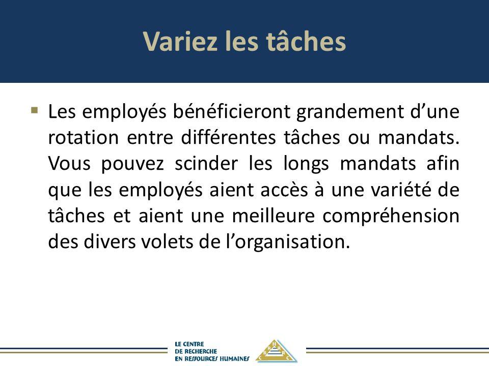 Variez les tâches Les employés bénéficieront grandement dune rotation entre différentes tâches ou mandats. Vous pouvez scinder les longs mandats afin