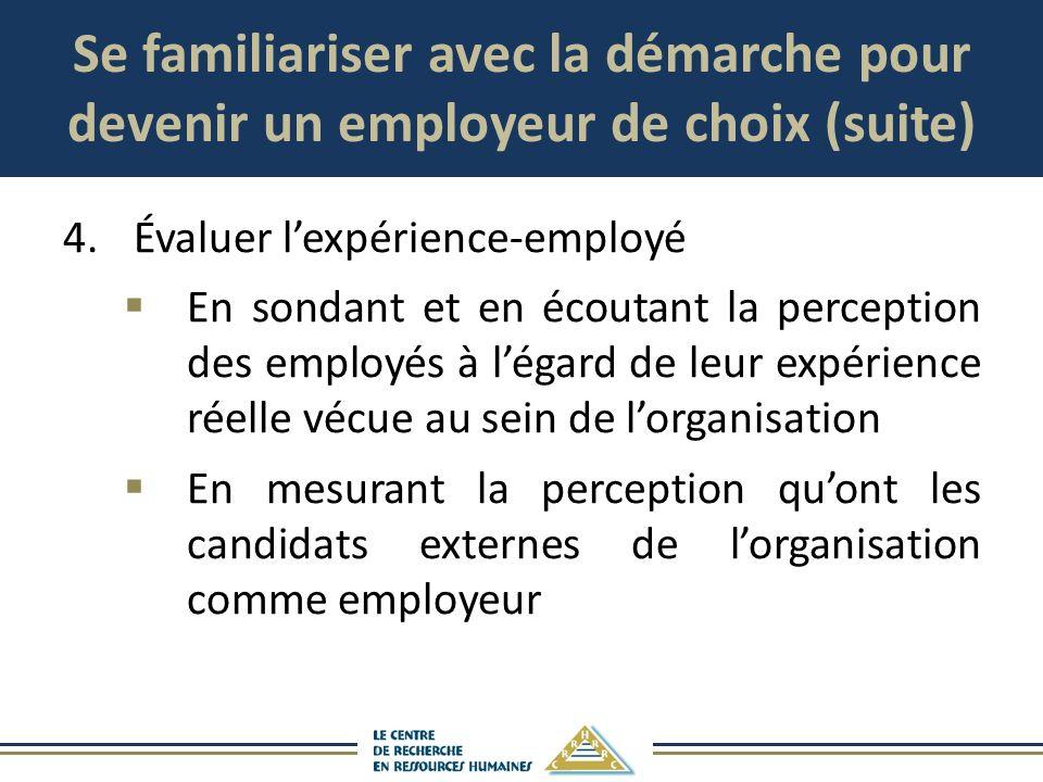 Se familiariser avec la démarche pour devenir un employeur de choix (suite) 4. Évaluer lexpérience-employé En sondant et en écoutant la perception des