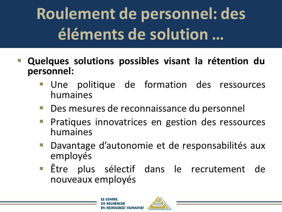 Roulement de personnel: des éléments de solution … Quelques solutions possibles visant la rétention du personnel: Une politique de formation des resso
