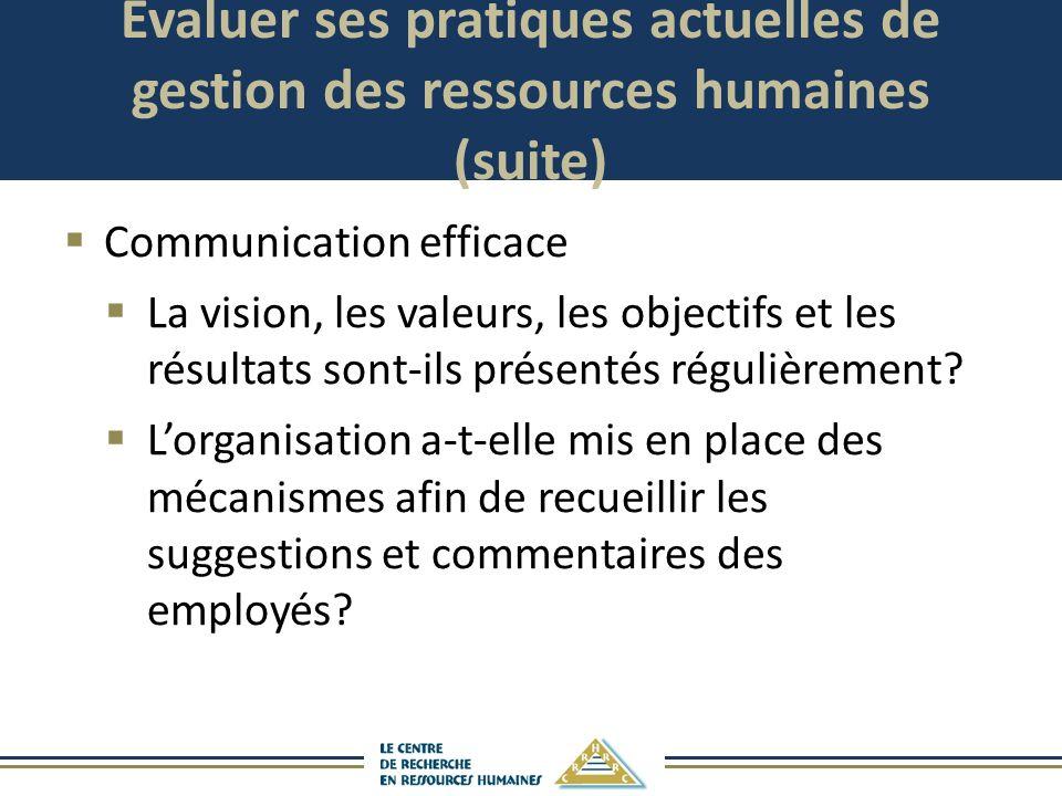 Évaluer ses pratiques actuelles de gestion des ressources humaines (suite) Communication efficace La vision, les valeurs, les objectifs et les résulta