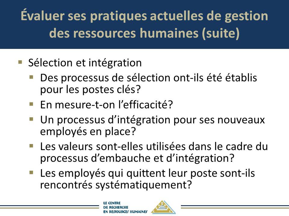 Évaluer ses pratiques actuelles de gestion des ressources humaines (suite) Sélection et intégration Des processus de sélection ont-ils été établis pou