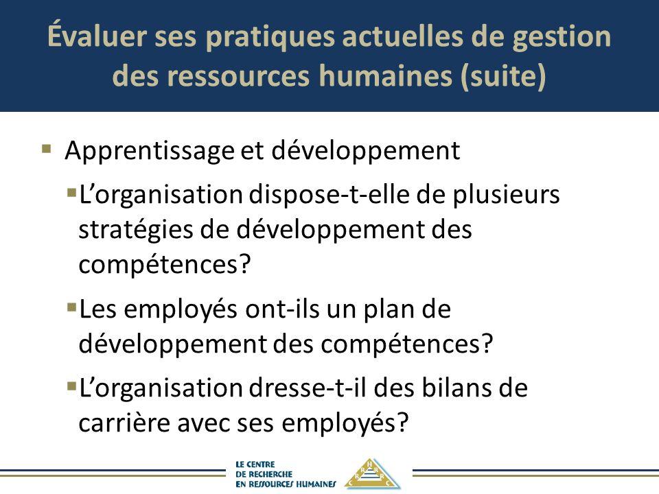 Évaluer ses pratiques actuelles de gestion des ressources humaines (suite) Apprentissage et développement Lorganisation dispose-t-elle de plusieurs st