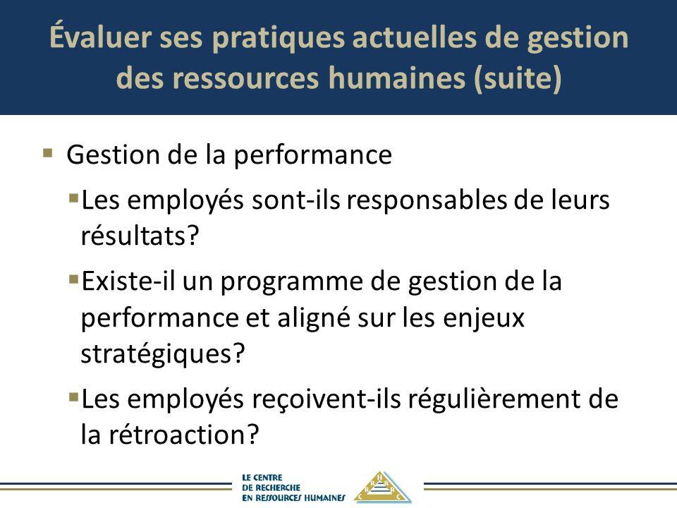 Évaluer ses pratiques actuelles de gestion des ressources humaines (suite) Gestion de la performance Les employés sont-ils responsables de leurs résul