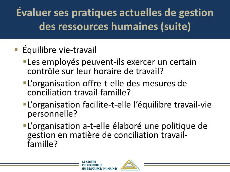 Évaluer ses pratiques actuelles de gestion des ressources humaines (suite) Équilibre vie-travail Les employés peuvent-ils exercer un certain contrôle