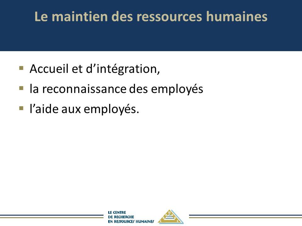 Le maintien des ressources humaines Accueil et dintégration, la reconnaissance des employés laide aux employés.